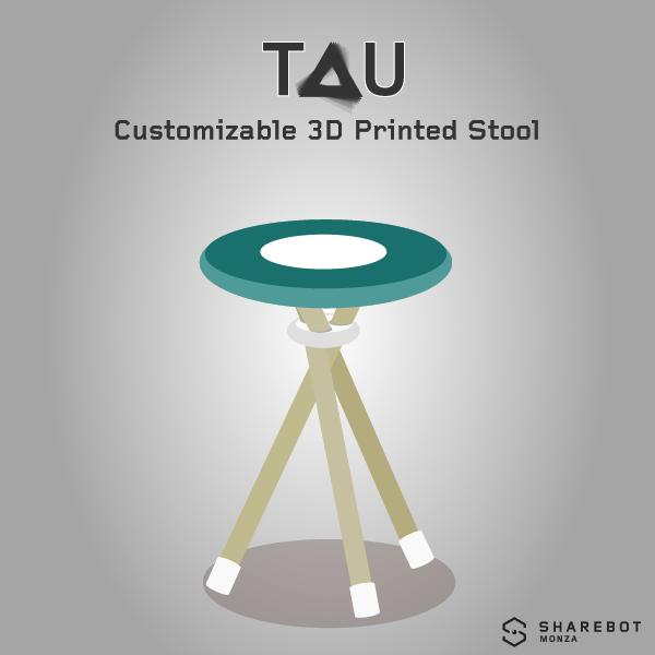 TAU sgabello stampato in 3d personalizzabile Sharebot Monza 3D store shop stampa 3D