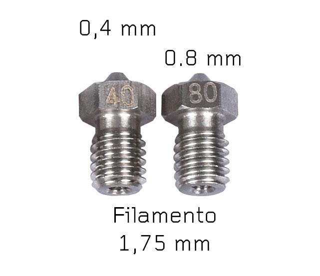 Kit V6 Nozzle Acciaio Stampante 3D (2 pezzi)