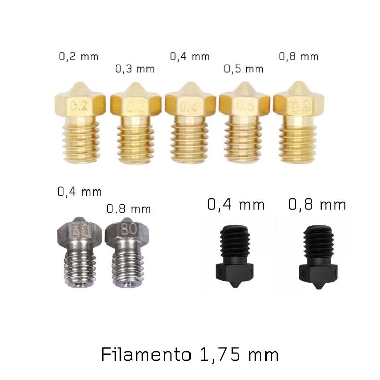 Kit Nozzle V6 stampante 3D completo (ottone + acciaio + acciaio temprato)