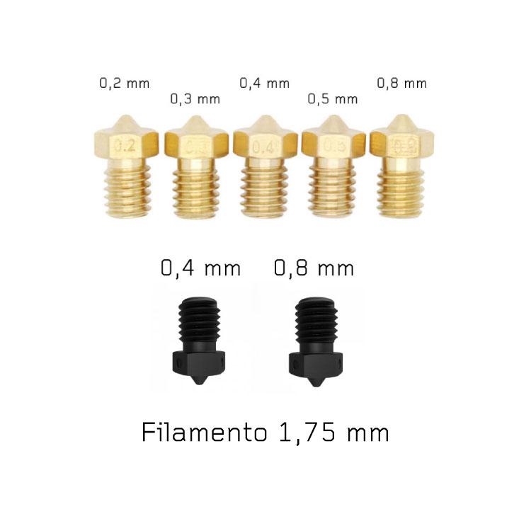 Kit V6 nozzle ottone + nozzle acciaio temprato per stampante 3D